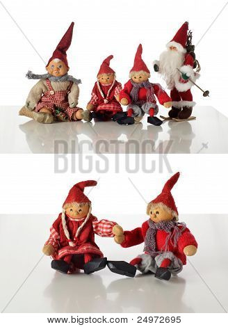 4 Different gnomes and Santas on white