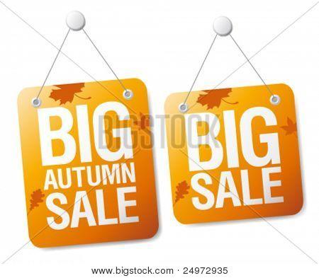 Big autumn sale signs set.