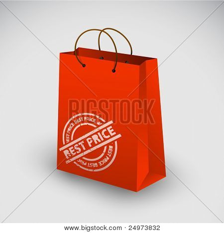 Red shopping bag icon with best price stamp