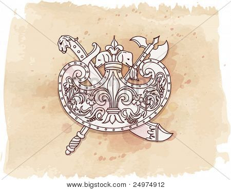 Vintage emblem - metope - hand draw sketch & watercolor background. Bitmap copy my vector id 87989032
