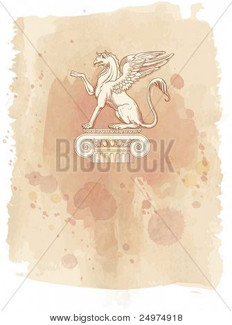 Griffin, seated on an Ionic column - hand draw sketch & watercolor background. Bitmap copy my vector id 87989062