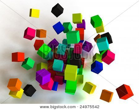 Color cubes in the stiffened falling. Includes clipping path.