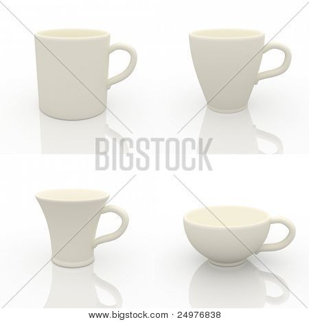 Collection of the White cups design template.