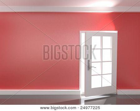 Opening  door in a empty red  room