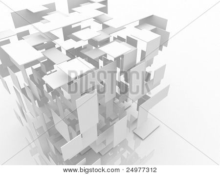 3D abstracto cubo blanco