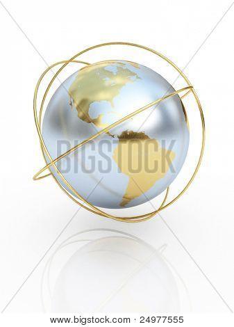 Golden earth  the communication symbol. America.