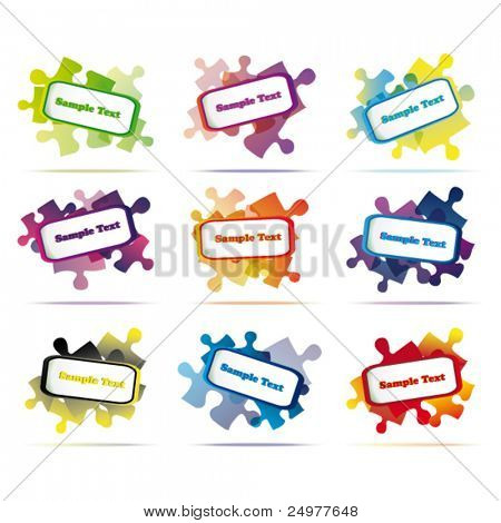 vector speech bubbles puzzle form eps10