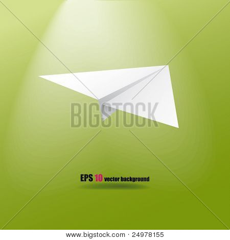 Paper plane on the green background.