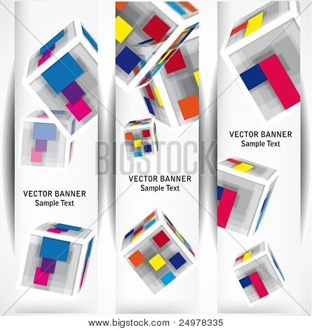 abstract color cubes web banners