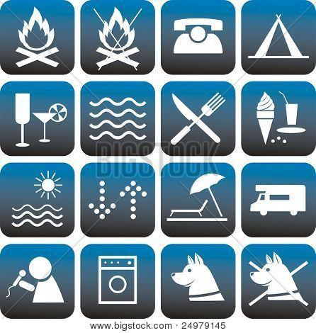 Icons set. Camping.