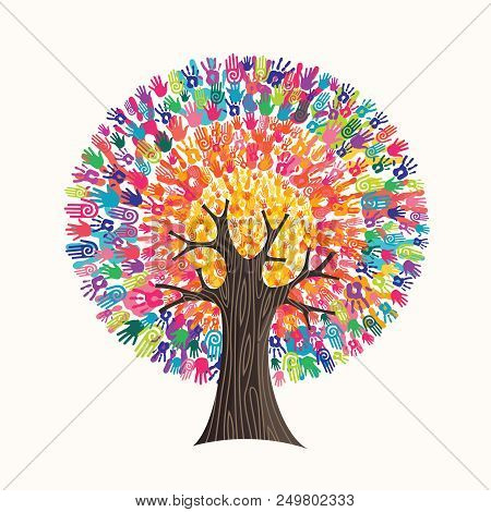 poster of Tree Made Of Colorful Human Hands In Branches Creates A Vibrant Colors Sun. Community Help Concept,