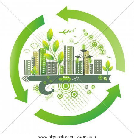 Green city. Environment  background.