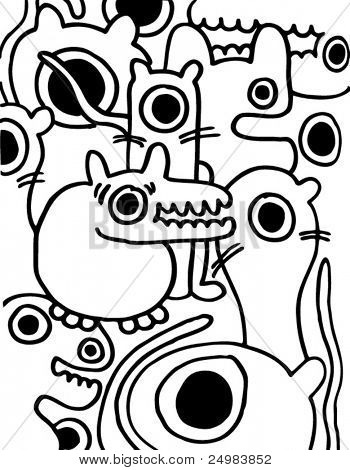 Crazy pattern of freaks doodles