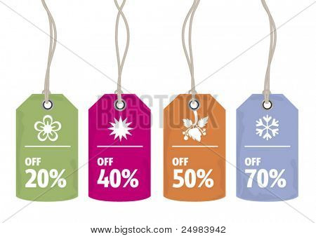Sale price tags for every shopping season in vector