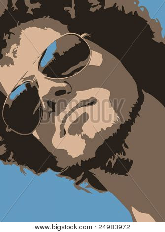 Detailed Male model wearing summer sunglasses with blue sky reflection in vector