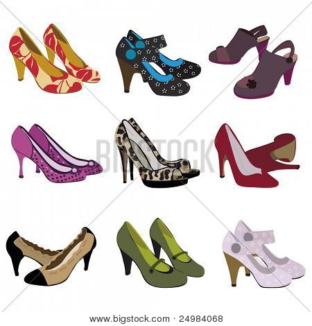 pair of heels set - female trendy fashion footwear