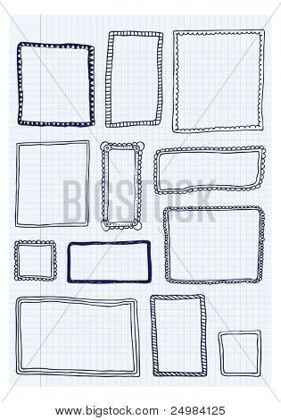 Collection of handdrawn victorian frames in vector
