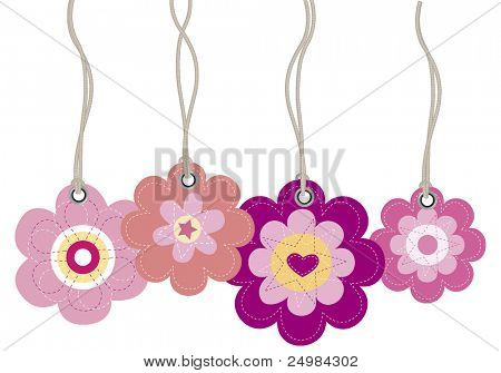 Flower card price tags vector labels