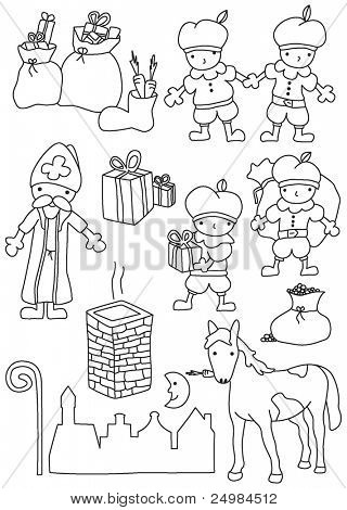 Sinterklaas december doodles in vector
