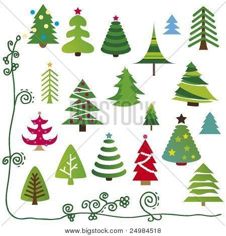 Selection of christmas trees in vector