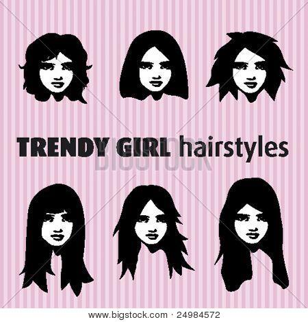 Nuevo varios estilos de pelo moderno en vector