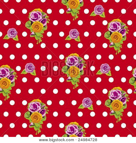 Seamless polka dots and roses pattern in vector