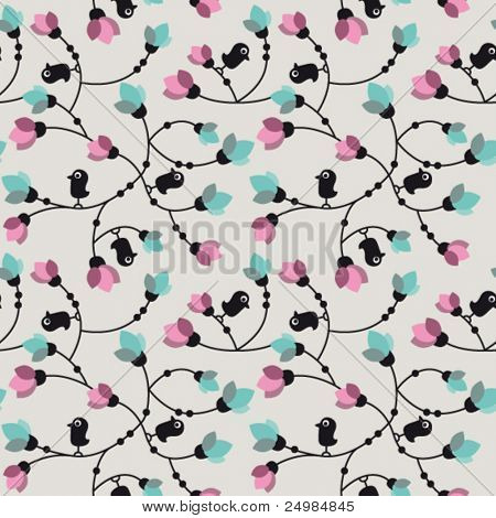 Flowers and birds seamless background in vector