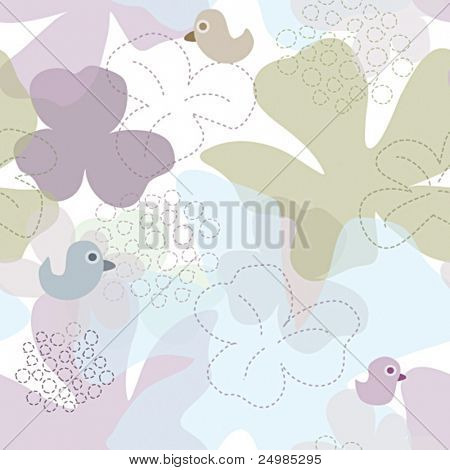 Soft colour seamless pattern of flowers and birds