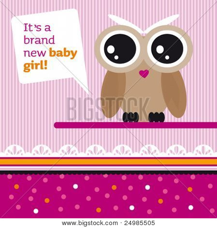 New born baby girl card design with owl in vector