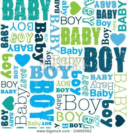 Seamless new born baby boy pattern in vector