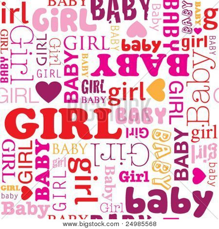 Seamless new born baby girl wrapping paper pattern in vector