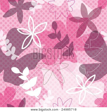 seamless retro flower background pattern with polka dot texture in vector