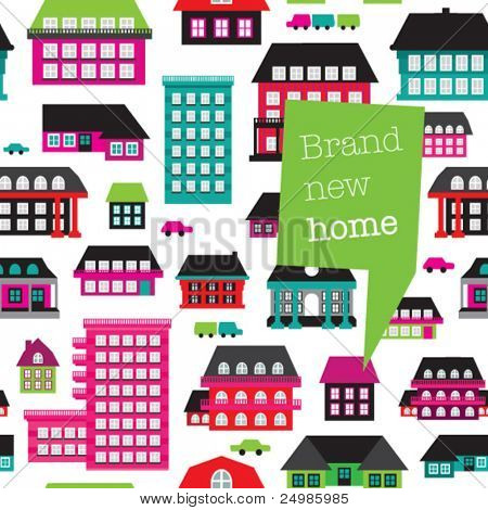 New home card design with seamless home and car pattern background in vector