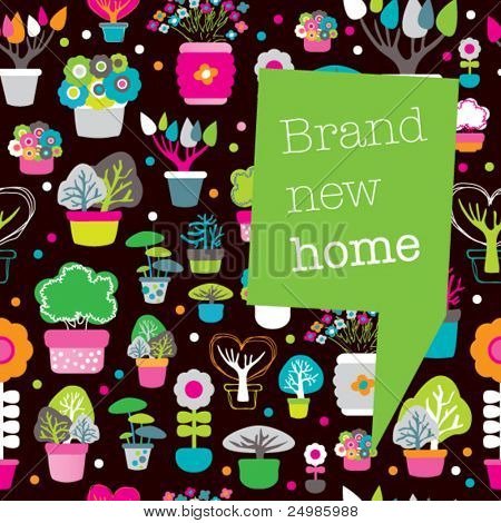 New home card design with seamless plants and flowers pattern background in vector