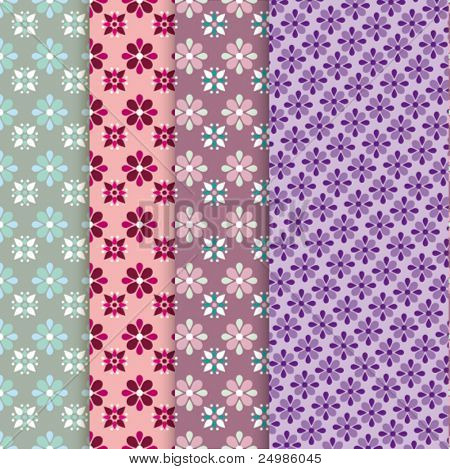 Seamless retro illustration background set flower pattern in vector