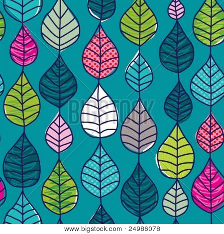 Seamless retro autumn leaf background pattern in vector