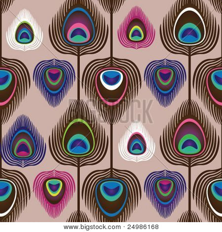 Fondo de patrón de ornamento pavo real plumas en vector