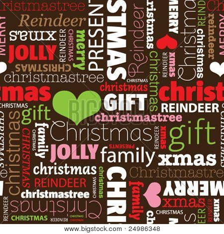 Seamless merry christmas holiday typography pattern in vector