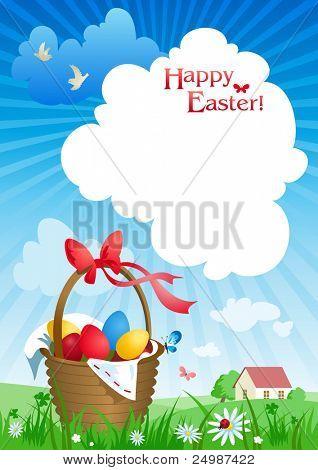 Canasta de Pascua. Fondo con espacio para texto