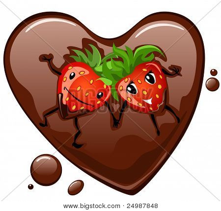 Cartoon strawberry supine in chocolate heart