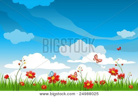 Red flowers. Summer background