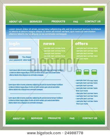 Modern green and blue web2 website template