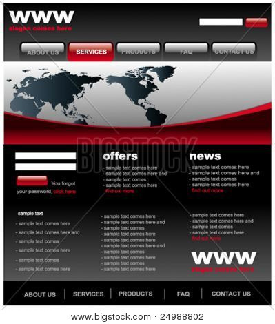 Modern black and red web2 website template