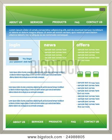 Modern green and blue with white background web2 website template