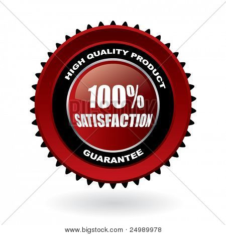 100% satisfaction guarantee vector emblem with reflection