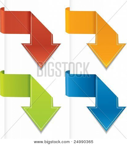 Arrow shaped vector origami labels / stickers