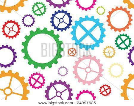 Colorful seamless cogwheel pattern background