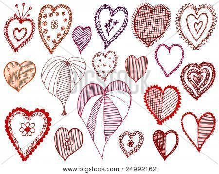 set of red doodle hearts