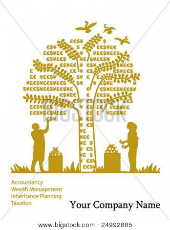 Vector Golden Money Tree & Currency Fruit Picking (Cover, Advert or Page Illustration)