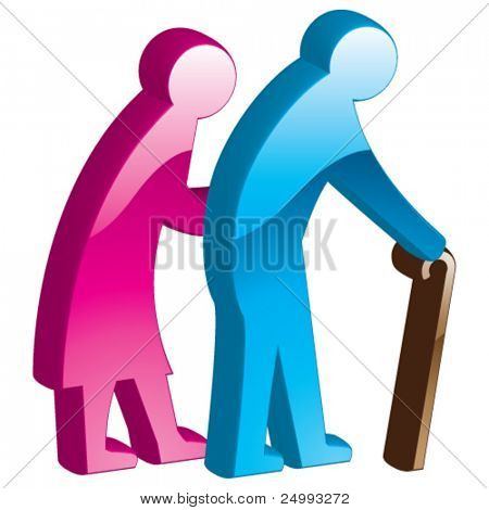 Vector Elderly Couple - 3D Glossy Icon